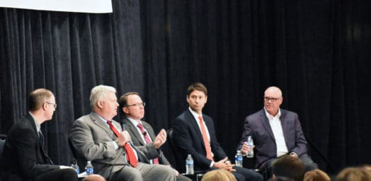 Panel discussion at the 2020 Economic Trends event. From left, BizTimes Milwaukee editor Andrew Weiland, GRAEF CEO John Kissinger, UW Foundation president and CEO Michael Knetter, Husco CEO Austin Ramirez, and American Family Insurance CEO Jack Salzwedel.