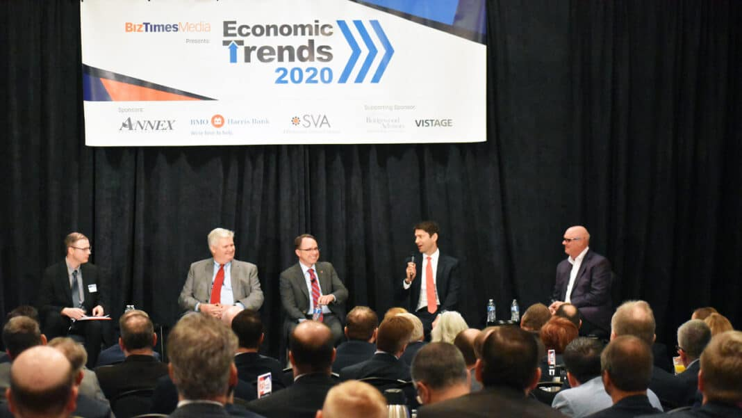 Economic Trends speaker Q&A (from left) BizTimes Milwaukee editor Andrew Weiland, GRAEF-USA president and CEO John Kissinger, UW Foundation president and CEO Michael Knetter, Husco International president and CEO Austin Ramirez and American Family Insurance chairman and CEO Jack Salzwedel.