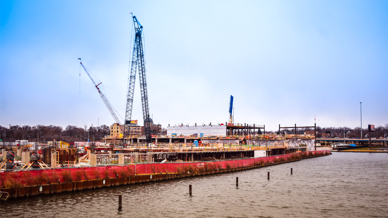 Construction continues on the Michels Corp. R1VER project in Milwaukee's Harbor District.