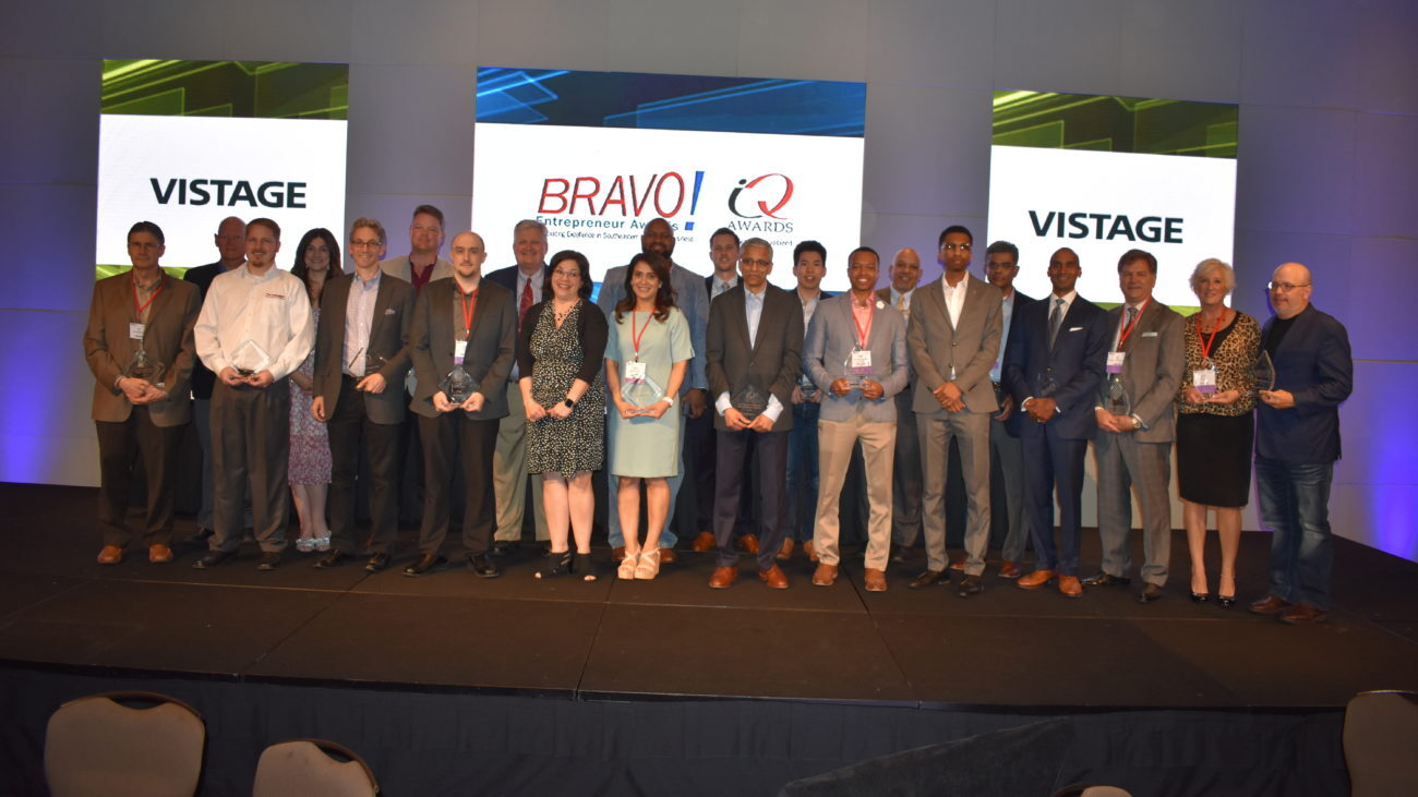 The recipients of the 2019 Bravo! Entrepreneur and I.Q. Awards, which were presented at a luncheon during the annual BizExpo event.