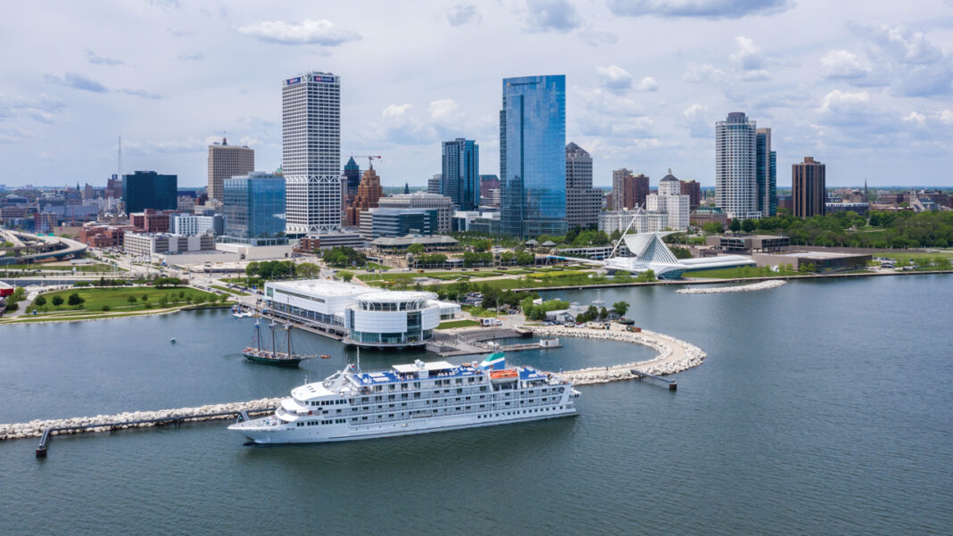 Pearl Mist cruise ship visiting Milwaukee in 2019 during a Great Lakes cruise.