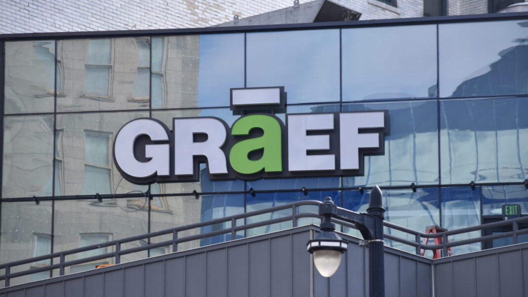 GRAEF-USA Inc. new exterior sign at The Avenue in downtown Milwaukee.