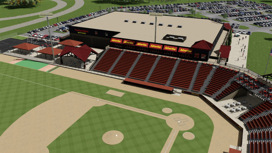 Rendering of the 2,500-seat ballpark planned by Blue Ribbon Baseball in Oconomowoc.