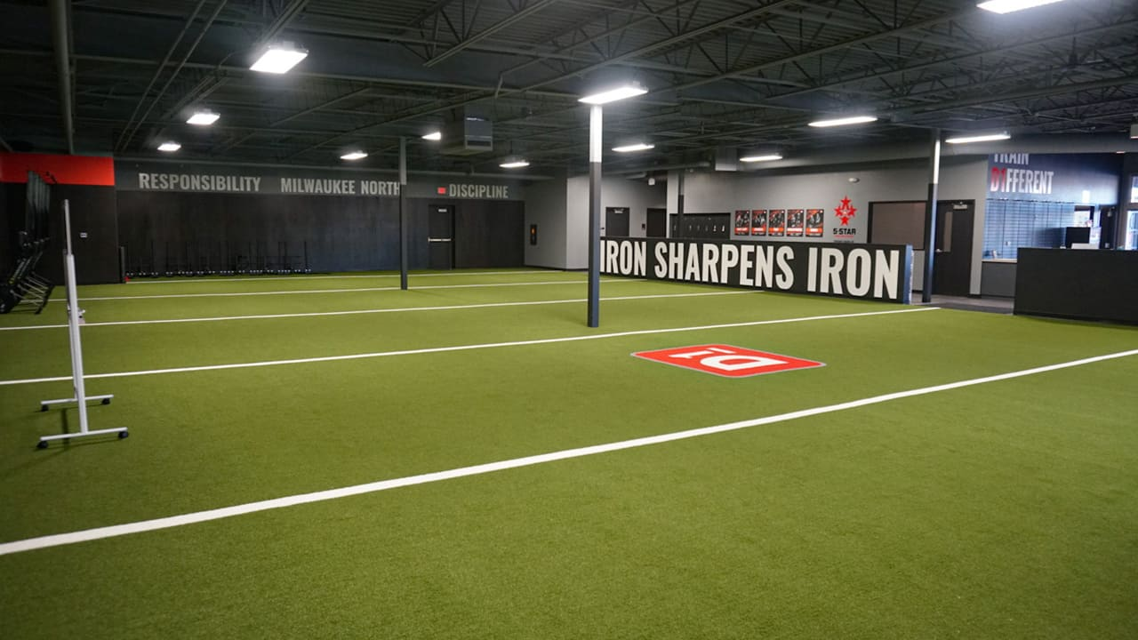 9,000 square feet of the facility is covered in AstroTurf.