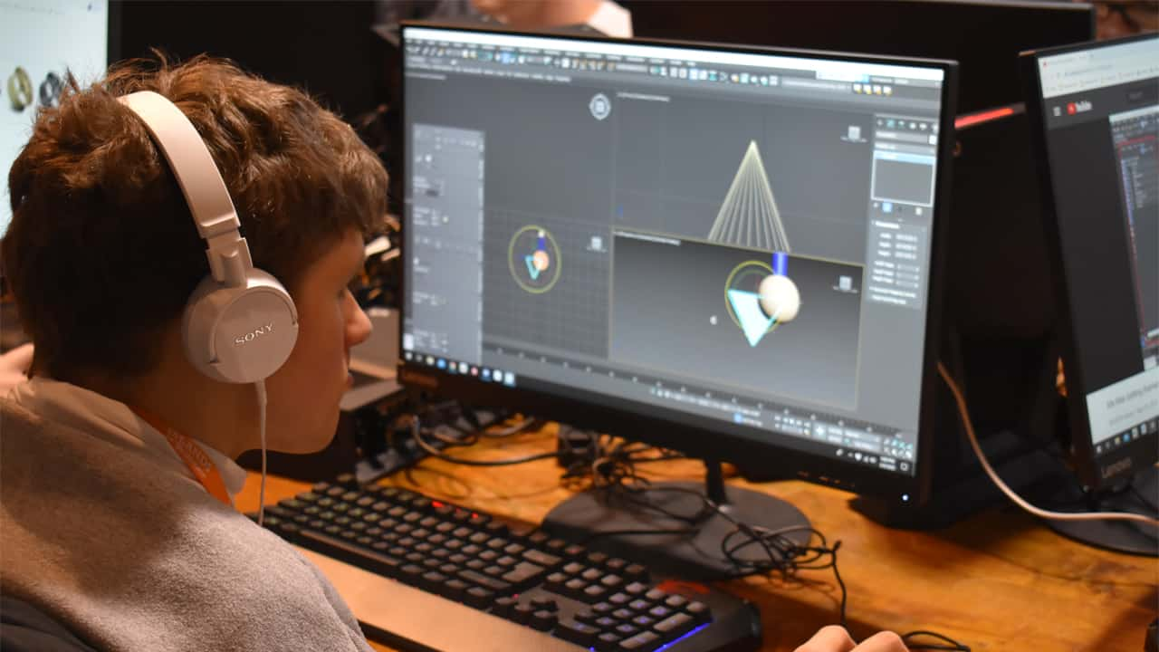 Islands of Brilliance student Garrett Scott works on a project using Autodesk 3DS Max modeling software.