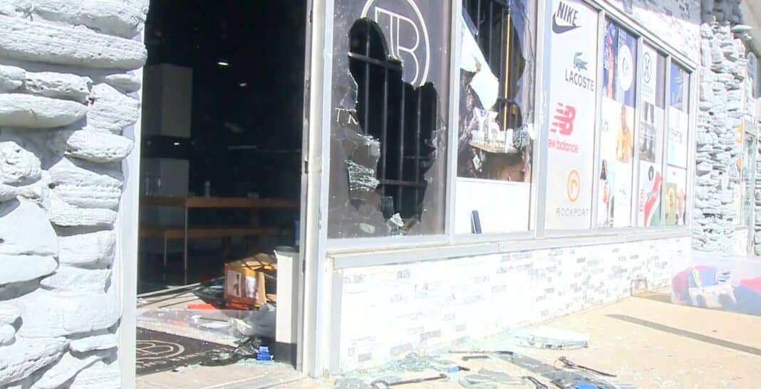 Trend Benderz was one of the businesses damaged in Milwaukee by looters Friday night. Photo from WISN-TV Channel 12, a media partner of BizTimes Milwaukee.