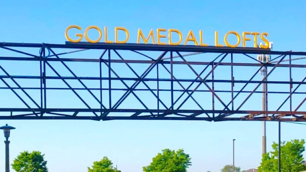 Gold Medal Lofts catwalk sign. Photo courtesy of J. Jeffers & Co.