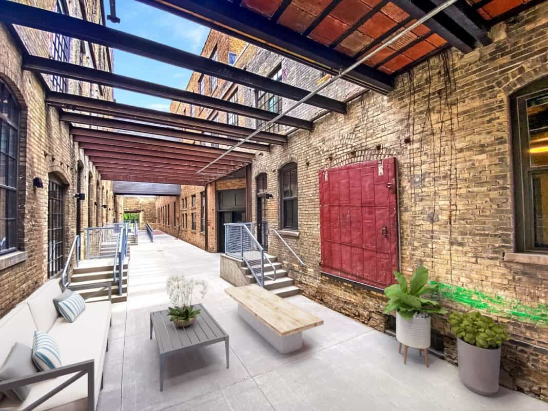 Outdoor courtyard at Gold Medal Lofts. Photo courtesy of J. Jeffers & Co.