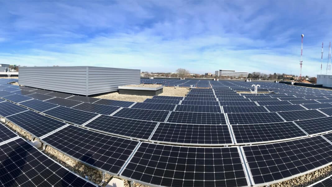 Solar panels atop Smart Motors Toyota dealership building in Madison.
