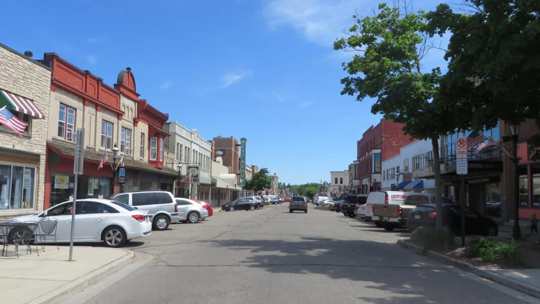 Downtown West Bend, looking south from near the entrance of Old Settlers Park.