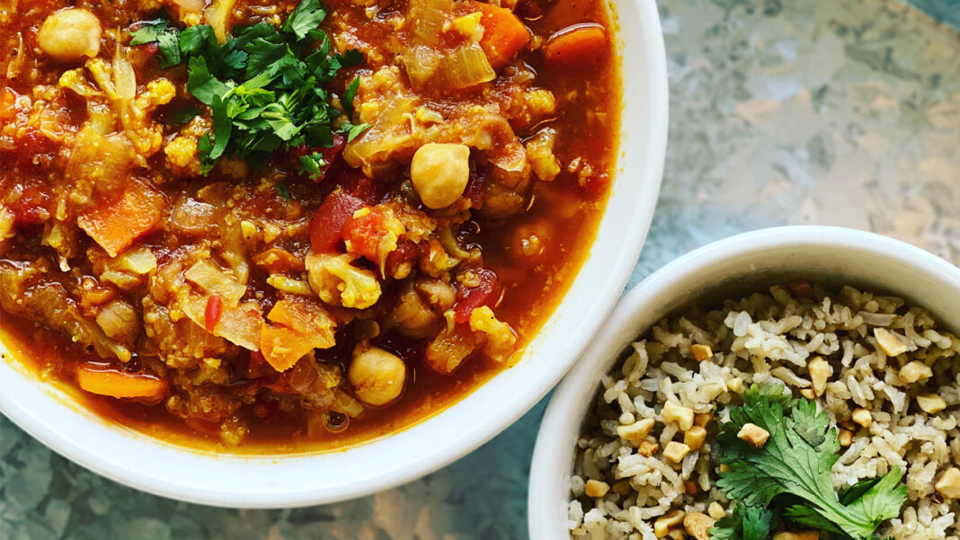 Celesta's monthly rotating Balance Bowl pairs grain and seasonal vegetables as a gluten-free option. Recently on the menu was chana masala, an Indian dish made with chickpeas, spices and tomatoes.