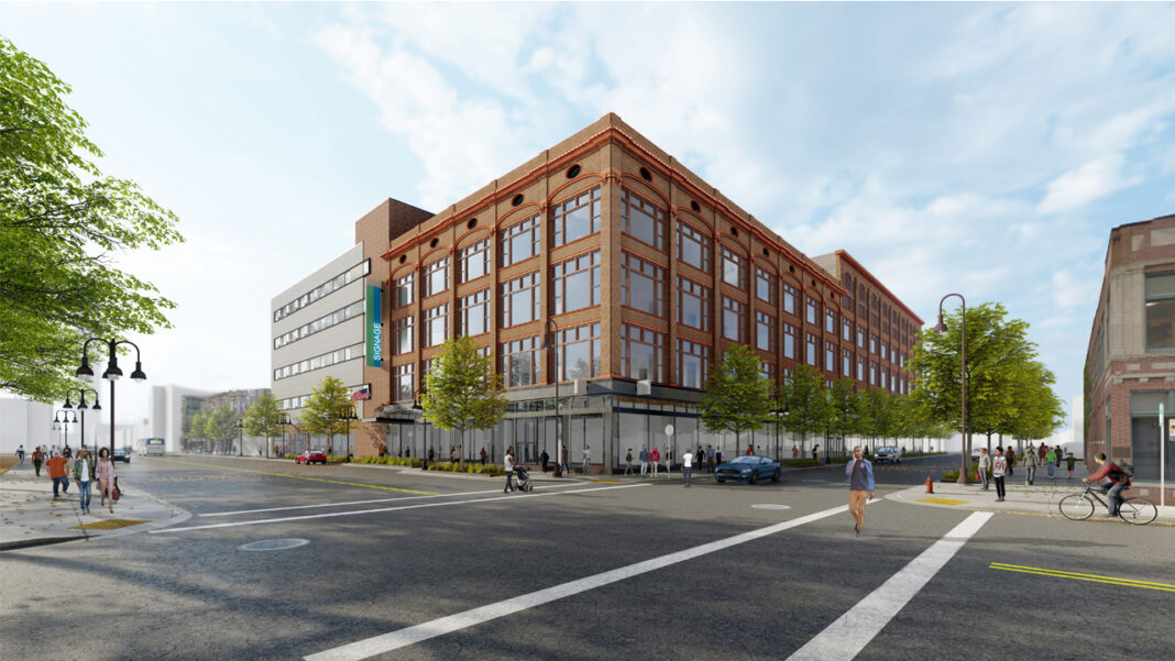 The former Gimbels and Schuster's Department Store building at the southwest corner of Garfield Avenue and King Drive is being redeveloped for the new home of the MCW/GMF partnership. Rendering: Engberg Anderson Architects