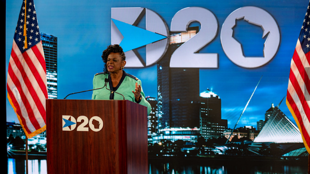 U.S. Rep. Gwen Moore speaks from the stage set up at the Wisconsin Center in downtown Milwaukee. Photo credit: Democratic National Convention Committee