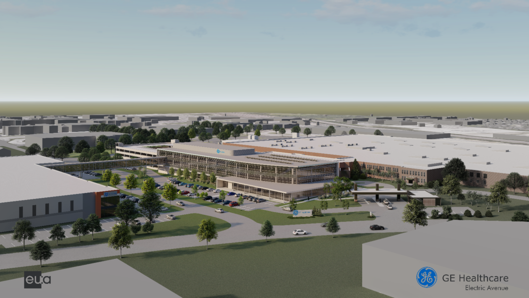 A rendering of the proposed changes to the GE Healthcare facility at Electric Avenue.