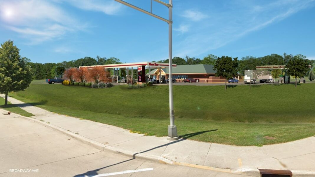 Rendering of the proposed Kwik Trip northwest of Business Drive and Broadway Avenue. (City records)