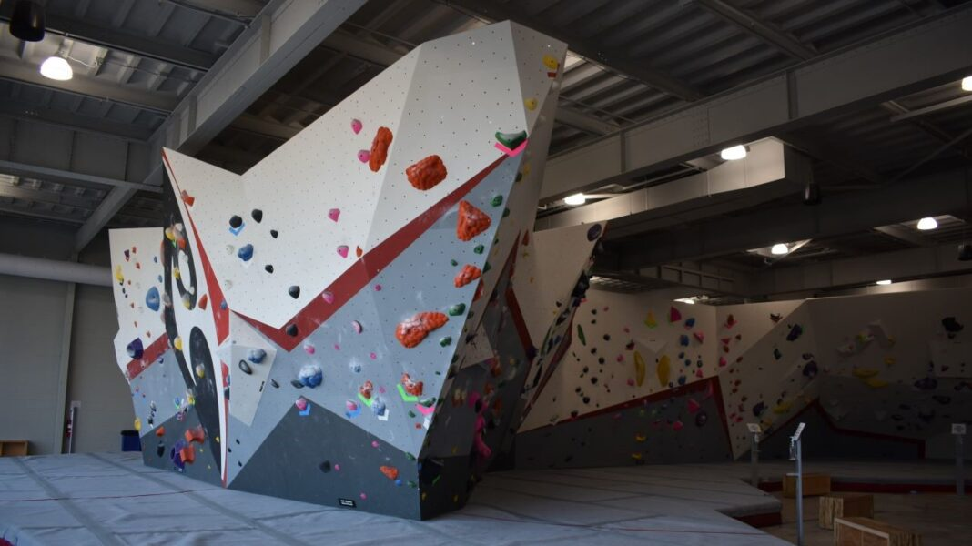 The rock climbing wall takes up the vast majority of Adventure Rock's space